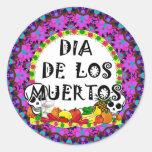 Dia De Los Muertos Etiquetas Redondas