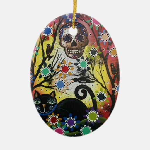Día de los muertos, gato, cráneo, ornamento de adorno ovalado de cerámica