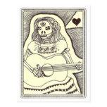 Dia de Los Muertos Girl con la guitarra Postal