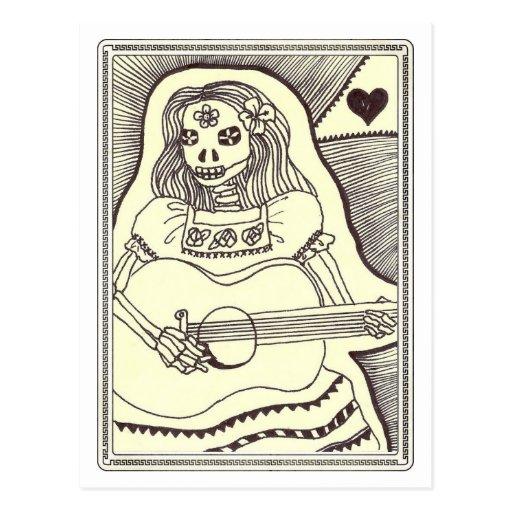 Dia de Los Muertos Girl with Guitar Post Card