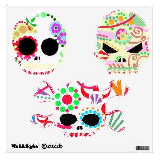 dia de los muertos halloween sugar skulls wall decal