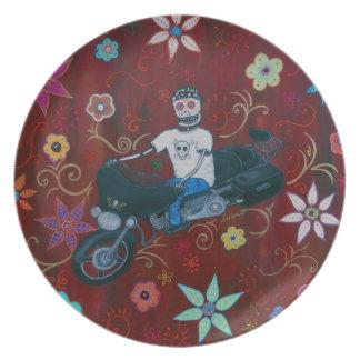 Dia de los Muertos Harley Biker Melamine Plate