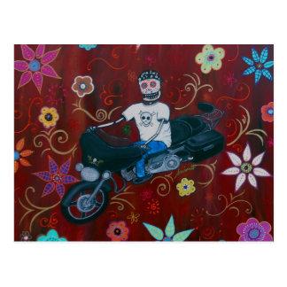 Dia de los Muertos Harley Biker Postcard