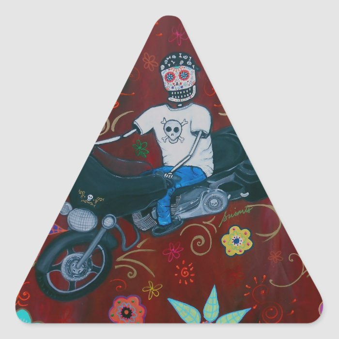 Dia de los Muertos Harley Biker Triangle Sticker