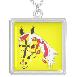 dia de los muertos horse square pendant necklace