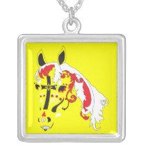 dia de los muertos horse silver plated necklace