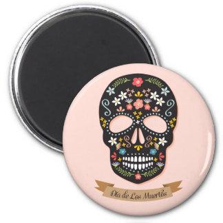 Día de los muertos, imán - negro-rosado