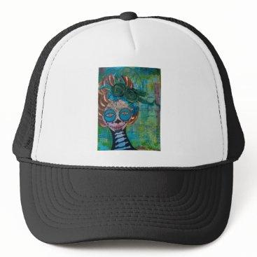 Halloween Themed dia de los muertos.jpg trucker hat