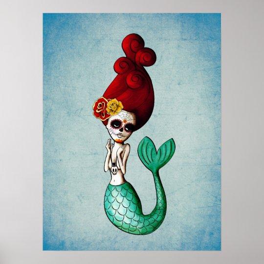 Dia de Los Muertos La Catrina Mermaid Poster