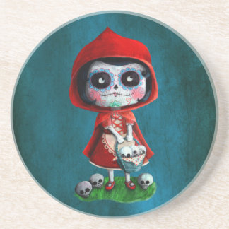 Dia de los Muertos Little Red Riding Hood Coaster