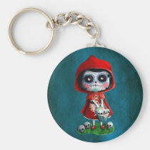 artsprojekt, fairy tale, halloween, red riding hood, dia de los muertos, sugar skull, day of the dead, la catrina, little red riding hood, fairytale, horror, skulls, dia de muertos, spooky, scary, catrina, calavera, gothic, spooky fairy tale, mexican fairy tale, fairy tale gift, halloween gift, halloween present, fairy tale present, red riding hood gift, red riding hood present, the day of the dead, children stories, folk tales, mexican day of the dead, day of the dead skulls, day of the dead mask, day of the dead keychain, Keychain with custom graphic design