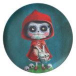 Dia de los Muertos Little Red Riding Hood Melamine Plate