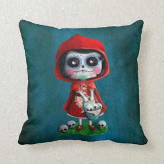 Dia de los Muertos Little Red Riding Hood Throw Pillow