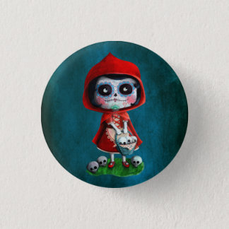 Dia de los Muertos Little Red Riding Hood Pinback Button