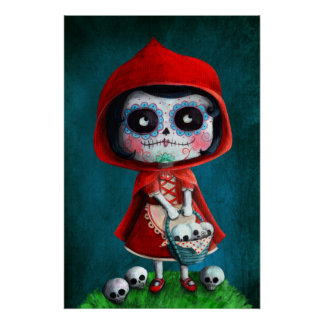 Dia de los Muertos Little Red Riding Hood Poster
