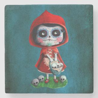 Dia de los Muertos Little Red Riding Hood Stone Coaster
