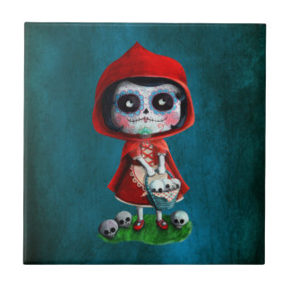 Dia de los Muertos Little Red Riding Hood Ceramic Tile