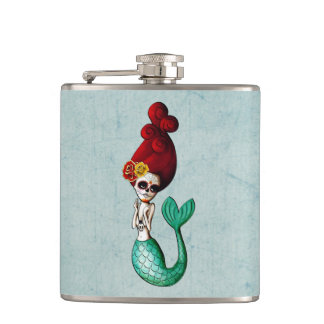 Dia de Los Muertos Lovely Mermaid Gal Flask