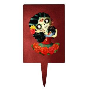 Dia De Los Muertos Lovely Mexican Catrina Cake Topper