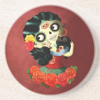 Dia de Los Muertos Lovely Mexican Catrina Girl Drink Coaster