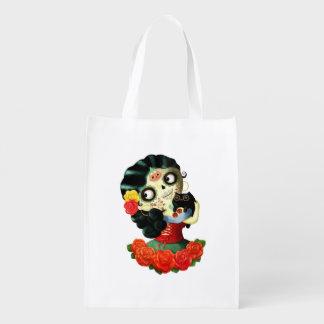 Dia de Los Muertos Lovely Mexican Catrina Girl Grocery Bag
