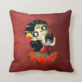 Dia de Los Muertos Lovely Mexican Catrina Girl Throw Pillows