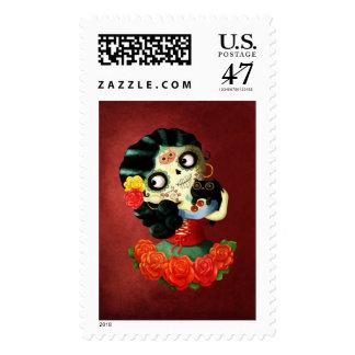 Dia de Los Muertos Lovely Mexican Catrina Girl Postage Stamp