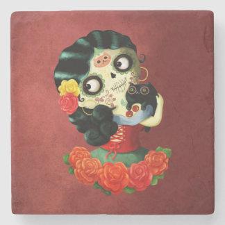 Dia de Los Muertos Lovely Mexican Catrina Girl Stone Coaster