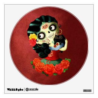 Dia de Los Muertos Lovely Mexican Catrina Girl Wall Sticker