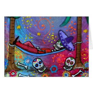 Dia de los Muertos mariachi Siesta by Prisarts Greeting Card