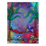 Dia de los Muertos mariachi Siesta by Prisarts Post Cards