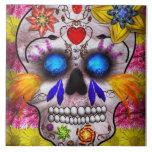 Día de los muertos - máscara de muerte azulejos cerámicos