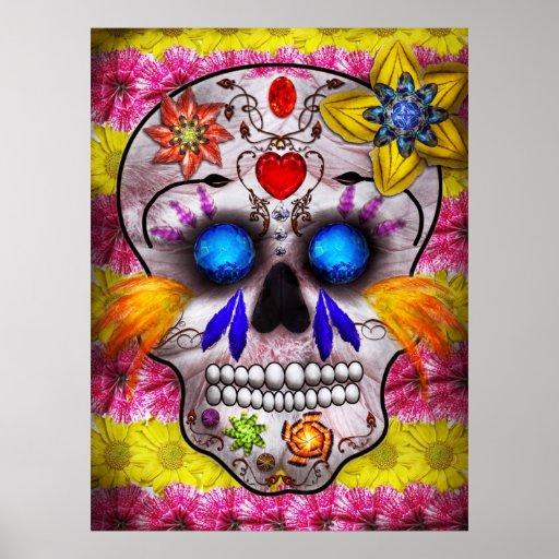 Día de los muertos - máscara de muerte póster