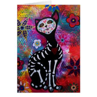 Dia de los Muertos Meow Cat by Prisarts Greeting Card