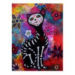 Dia de los Muertos Meow Cat by Prisarts Post Card
