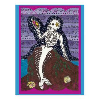 Dia de Los Muertos Mermaid Postcard