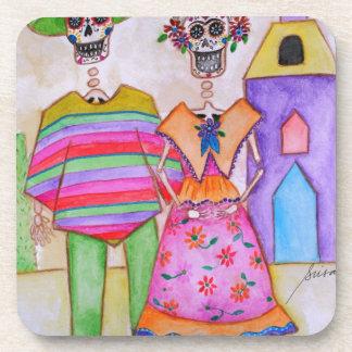 DIA DE LOS MUERTOS MEXICAN COUPLE ARTIST BEVERAGE COASTER