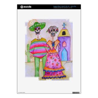 DIA DE LOS MUERTOS MEXICAN COUPLE ARTIST iPad 3 DECAL