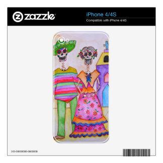 DIA DE LOS MUERTOS MEXICAN COUPLE ARTIST iPhone 4S SKINS