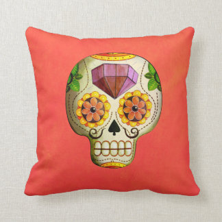 Dia de Los Muertos Mexican Sugar Skull Throw Pillow