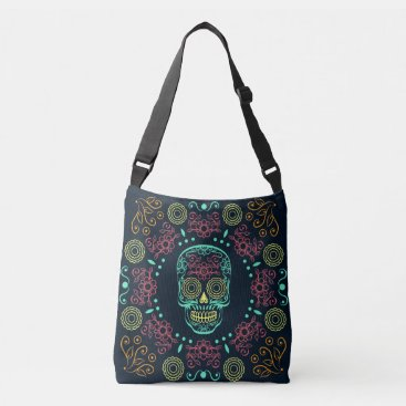 Halloween Themed Dia de los Muertos Neon Floral Skull Body Bag