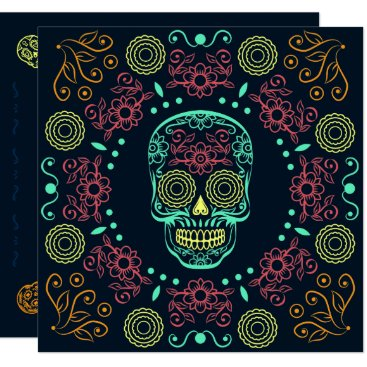 Halloween Themed Dia de los Muertos Neon Floral Skull | Invitation