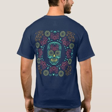 Halloween Themed Dia de los Muertos Neon Floral Skull   Shirt