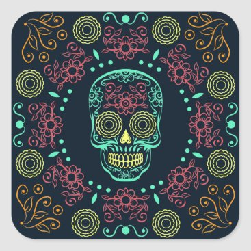 Halloween Themed Dia de los Muertos Neon Floral Skull Sticker Seal