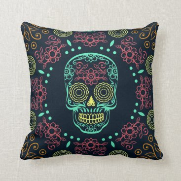 Halloween Themed Dia de los Muertos Neon Floral Skull Throw Pillow