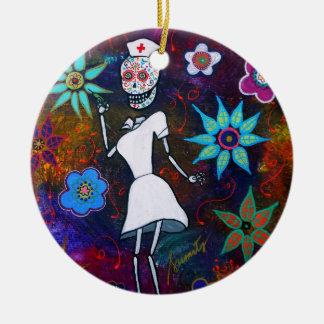 Dia de los Muertos  Nurse Ceramic Ornament