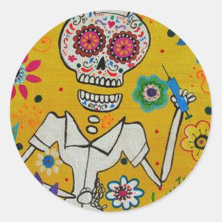 Dia de los Muertos Nurse Classic Round Sticker
