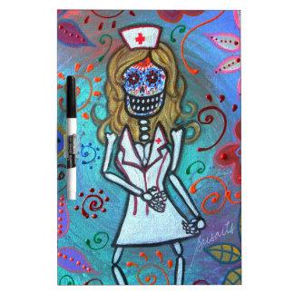 Dia de los Muertos  Nurse II Painting Dry-Erase Whiteboard
