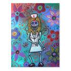 Dia de los Muertos  Nurse II Painting Postcard