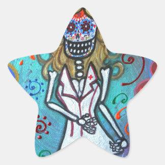 Dia de los Muertos  Nurse II Painting Star Sticker
